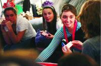 <p>At her 18th birthday party in March, Rachel Barezinsky's head is still misshapen from where surgeons removed part of her skull to relieve pressure. That portion was repaired the next month. With her at the party are from left, Margaret Hester, Petra Daitz and Tessa Acker (facing away).</p>